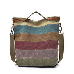 Discount handbags colorful patchwork - Canvas Bag Large Capacity Patchwork Portable Diagonal Package For Women Colorful Stitching Gym Handbags