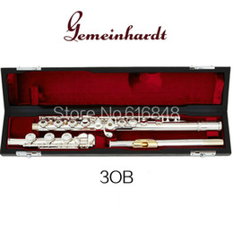Wholesale Gemeinhardt 3OB   GLP 17 Keys Open Hole Silver Plated Flute C Tune Gold Lip Flute High Quality Musical Instrument With Case