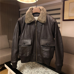 9979106fcac G1 Air Force Flight coat Men s Tooling cotton Leather Jackets with  Detachable Wool Collar soft goat genuine leather