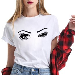 Wholesale Enjoythespirit Funny Blink Eyelash T Shirt Graphic Tee Women Loose Fit Cotton Ladies Tops Unisex O Neck Summer Fashion Y19072701