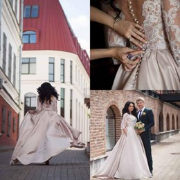Wholesale simple elegant laces for wedding dresses for sale - Group buy Elegant Lace Jewel Neck Wedding Dresses With Long Sleeve Back Cover Button Bridal Gowns Stain Dresses For Country Wedding Gowns