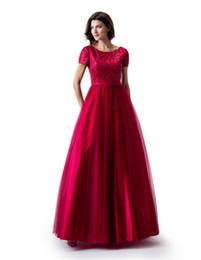 Lace Top Long Tulle Prom Dress UK - Red A-line Long Modest Prom Dress With Cap Sleeves Lace Top Tulle Skirt Teens Girls Formal Prom Gowns Modest Custom Made