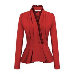 $enCountryForm.capitalKeyWord UK - Fashion Autumn Women Blazers Lace Collar Jackets Work Office Lady Suit Slim Khaki Black One Button Business Female Blazer Coat #408755