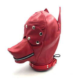 Discount adult dog sex mask Hot Sex Product Soft Leather Bondage Dog Head Hood Headgear Face Mask Detachable Eyepatch Adult Slave BDSM Bed Games Flirting Toy 4 Color 29