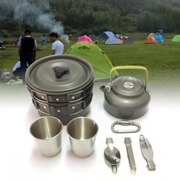 fry pans set Australia - 1-12pcs Outdoor Camping Hiking Picnic pot Pot Set Frying Pan Aluminum Carabiner Cookware Mess Outdoor Tableware