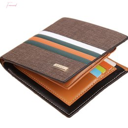 hot trunks for men UK - Hot Sale Striped Mens Leather Wallet 3 Folds Male Purse With Photo Holder Credit Card Holder For Man
