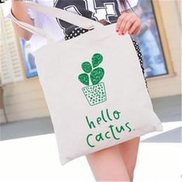 $enCountryForm.capitalKeyWord NZ - Pop2019 Pure Fresh White Black Style Canvas Tote Bag Cartoon Cactus Plant Girl Printing Handbags Daily Office Practical Bags Wholesale