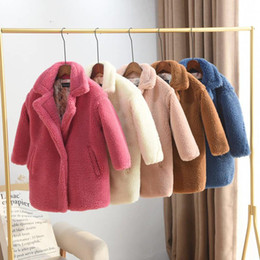 2019 Children Sheep Shearling Cardigan Coat Kids Girl Thick Casual Long Jacket Teen Girl Faux Fur Warm Outerwear Clothes Q470