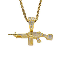 $enCountryForm.capitalKeyWord UK - Machine Gun Pendant Necklace Gold Plated Copper Inlaid Cubic Zirconia Gun Pendant 60cm Stainless Steel Chain Unisex Accessories