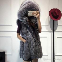 $enCountryForm.capitalKeyWord Australia - 2017 New fur vest imitation silver fox fur coat hooded vertical stripe medium-long vest large size women faux fur vest coat