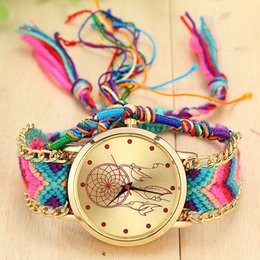 bracelet dreamcatcher Australia - Women Handmade Braided Dreamcatcher Friendship Bracelet Watch Luxury Ladies Rope Watch Quartz For Dropshipping Clock