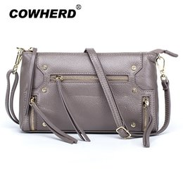 3c7083e67 COWHERD Mujer Bolso bandolera de cuero de vaca Negro / Azul claro / Gris  elefante / Rosa de loto / Taro Purple Bolsos de noche de hombro para mujer