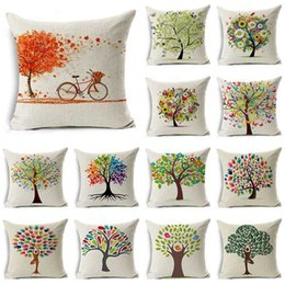 $enCountryForm.capitalKeyWord Australia - WZH Colorful Painting Tree Cushion Cover 45x45cm Linen Decorative Pillow Cover Sofa Bed Pillow Case