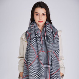 Discount cotton hijab scarf design - 2018 New Design Big Plaid Fashion Printed Women Scarf Warm Cotton Long Thick Ladies Shawls Hijab Winter Wrap Female Scar
