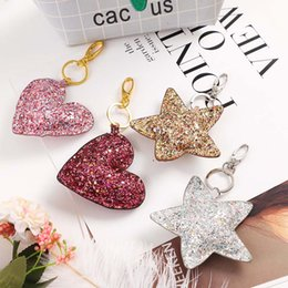 $enCountryForm.capitalKeyWord UK - 2019 European and American fashion double-sided color sequins stars love key ring couple bag pendant jewelry