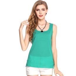 75db9e2495e summer Couture candy 16 female shirt color chiffon sleeveless blouse  chiffon vest 2018 sexy women T-shirt Plus Size S-3XL CL283