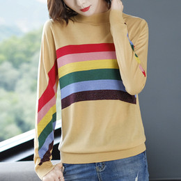 korean clothes sweater knits Australia - Autumn Women Christmas Sweater O-neck Rainbow Stripes Loose Pullovers Korean Chic Knitted Jumpers Harajuku Winter Clothes 2019