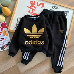 VelVet suit baby online shopping - NEW Kids Brand Clothes Kids Hoodies Sets Autumn Winter velvet Baby Clothes Boys Outfits Hoodies Long Sleeve Children Suits M102430