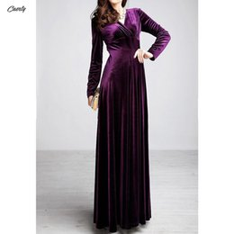 long sleeve maxi dresses Australia - Dress Women Winter Long Sleeve V-neck Long Maxi Velvet Dresses Elegant Ladies Formal Party Red Dresses Black designer clothes