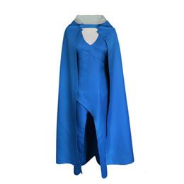 Halloween costumes plus women online shopping - Game Of Thrones Daenerys Targaryen Blue Dress Halloween Carnival Cosplay Female Costume Women Dress CloakMX190923