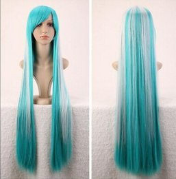 $enCountryForm.capitalKeyWord Australia - WIG free shipping Women's Lolita Green Blue White Mix Long Hair Cosplay Party Anime Straight Wigs