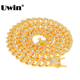 Cuban Necklaces Australia - Uwin Miami Cuban Link Chain Necklace 13mm Full Bling Bling Iced Out Rhinestones Silver Gold Color Fashion Jewelry Necklace J190620