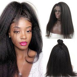 full head brazilian human hair UK - New Designer Fashion Yaki Straight 360Lace 13*4 Lace Front Human Hair Wigs Hot Selling Full head Set 100% Remy Brazilian Hair Natural Black