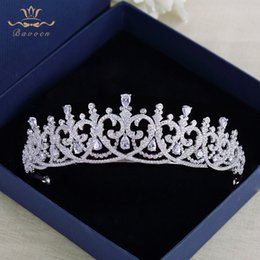 Wholesale New Brides Heart Shape Full Zircon Brides Tiaras Crowns Sparking Silver Bridal Hairbands Plated Crystal Wedding Hair Accessories C18122501