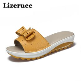 flat platform wedges Canada - 2018 New Women's Slipper Cow Leather Women Flats Shoes Platform Wedges Female Slides Beach Flip Flops Summer Shoe Lady HS003