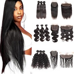 34 inches hair Australia - Brazilian Virgin Human Hair Bundles With Closure Straight Body wave Deep Water Wave Loose Deep 3 Bundles With 13x4 Frontal Hair Extensions