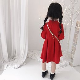 Wholesale metallic lace tulle resale online - girl brand dresses kids clothes girls Vintage red stand collar lace Buckle embroidery Dress top quality baby girl clothes