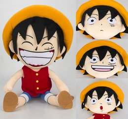 pendants anime one piece Australia - 30 cm Anime One Piece figure plush doll Straw Hat Luffy figures plush toys free shippingMX190925