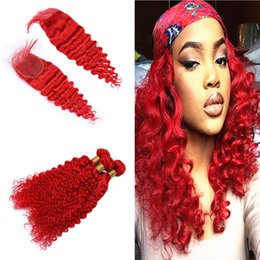 ombre deep wave bundles closure 2020 - Colored Red Deep Curly Hair Weaves Bundles With Top Closure 4x4 Bright Red Color Deep Wave Hair Extensions With Closure