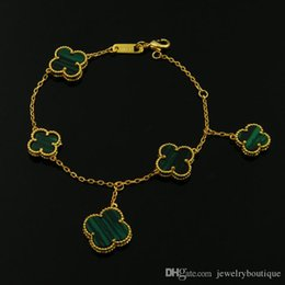 Malachite Bracelets Australia - brand name Top brass bracelet with 5pcs flower white shelland agate green malachite in 17.5cm length for women wedding gift jewelry PS5239A