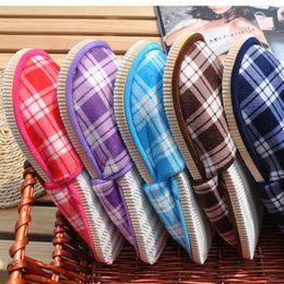 $enCountryForm.capitalKeyWord Australia - Cheap 5 Colors Faux Suede Upper EVA Sole Winter Indoor Women Men Non Slip Slippers Unisex Plaid Home Slipper Shoes
