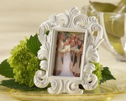 Discount free photo picture frames - Cheap Wholesale White Baroque Photo Frame Elegant Wedding Place Card Holder Or Picture Frame 100pcs  Lot Free Shipping