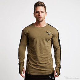 Sleeved gym ShirtS online shopping - New autumn new men long sleeved t shirt cotton raglan sleeve gyms Fitness workout clothing male Casual fashion Brand tees tops
