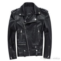 Discount oblique jacket fashion - Factory 2017 New Men Motorcycle Leather Jacket 100% Genuine Sheepskin Punk Oblique zipper Bomber Biker Men Leather Jacke