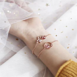 Accessories lucky online shopping - Hand Made Romantic Pink Stone Charms Chain Bracelet Teenage Girl DIY Fashion Accessories Jewelry Lucky Chain Bracelet