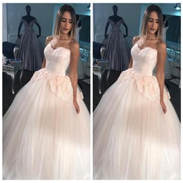$enCountryForm.capitalKeyWord NZ - Blush Pink Ball Gown Wedding Dresses Princess Sweetheart Neck Sleeveless Lace Up Floor Length Tulle Applique Lace Plus Size Bridal Gowns