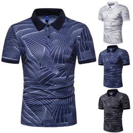 High Quality Polo Shirts Wholesale NZ - Mens Summer Fashion Polos 2019 Hot Sale High Quality Mens Trend Wave Pattern Print Polo Mens Slim Lapel Shirts Men Brand Tops Tee Size S-3xl