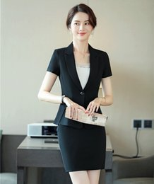 Work Suit For Women Australia - Summer Formal Female Skirt Suits for Women Busiiness Suits Black Blazer and Jacket Set Work Wear Outfit Office Clothes