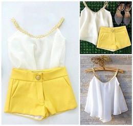 Girls Vest Shirt Australia - Baby Sets Summer Sleeveless Chiffon Vest 2pcs Kids Girls Chiffon Outfits Women Strap Tops Shirt + Hot Spandex Shorts Set 0-2y