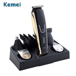 shaved hair styles NZ - 100-240V kemei 5 in 1 electric shaver hair trimmer titanium clipper beard razor men styling tools shaving machine for barberMX190927