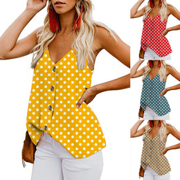 $enCountryForm.capitalKeyWord NZ - 2019 Summer Polka Dot Pattern Women Girl Tank Top Vests Sexy Casual Spaghetti V Neck Buttons Loose Summer Camis Tees Sleeveless T Shirt