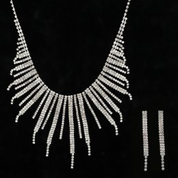 tibet products NZ - Fashion Fully-jewelled Tassels Necklace Earrings Suit Wind Pendant Product Sweater Chain