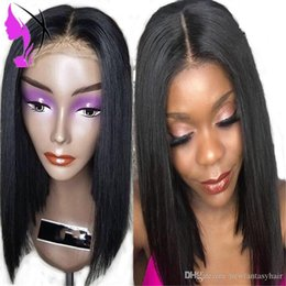 dark purple human hair UK - L Short Lace Front Simulation Human Hair Wigs For Black Women Brazilian Straight Synthetic Bob Lace Wig Pre Plucked Baby Hair