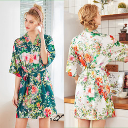 4062b3642c Large Size Sexy Satin Night Robe Floral Bathrobe Perfect Wedding Bride  Bridesmaid Robes Dressing Gown For Women