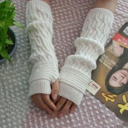 Glove Accessories Australia - 5 Colors Solid color Knitted Wool Mittens Women Winter Wrist Arm Hand Warmer Knitted Long Fingerless Gloves