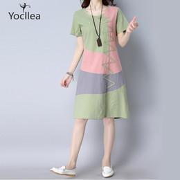 ccae351f840 Summer Dress Women Beach Dress Short Sleeve O Neck Patchwork A-line Casual Cotton  Linen Dress Vestidos Plus Size Lady Clothing C19041601